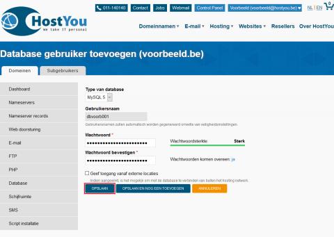 Database gebruiker toevoegen