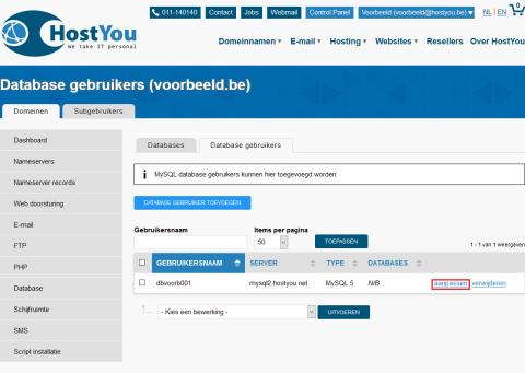 Database gebruiker aanpassen