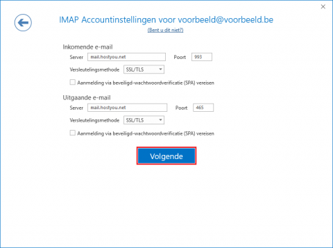IMAP Accountinstellingen