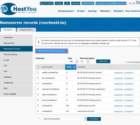 Nameserver records