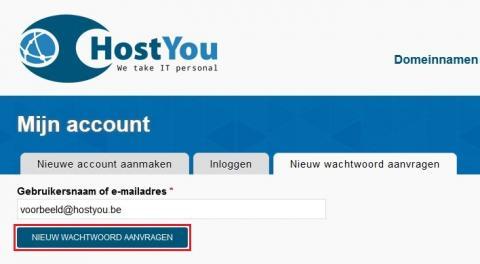 Nieuw wachtwoord aanvragen